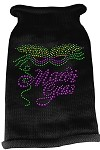 Mardi Gras Rhinestud Knit Pet Sweater MD Black
